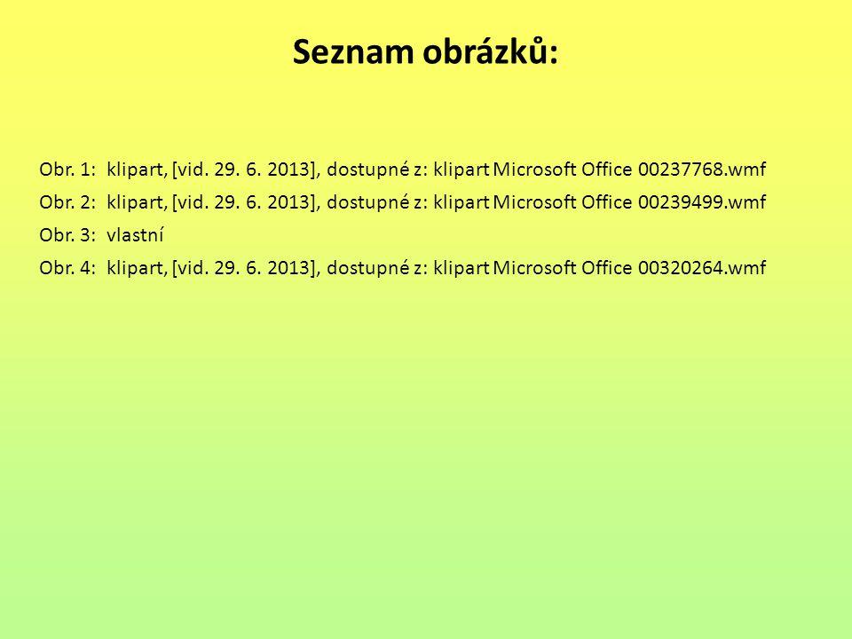 Seznam obrázků: Obr. 1: klipart, [vid. 29. 6. 2013], dostupné z: klipart Microsoft Office 00237768.wmf.